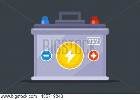 Car Battery On A White Background. Flat Vector Illustration.