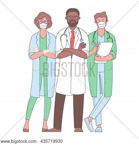 Multicultural Group Of Medics. The Medical Team In White Face Masks. Doctor, Nurse, Surgeon. Flat De