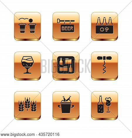 Set Beer Pong Game, Wheat, Bottles In Ice Bucket, Menu, Glass Of Beer, Pack, And Glass And Street Si