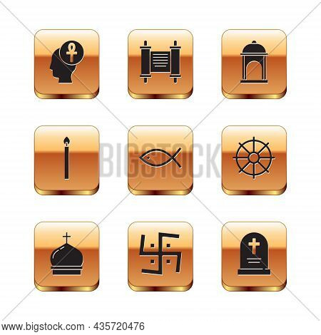 Set Cross Ankh, Church Tower, Hindu Swastika, Christian Fish, Burning Candle, Muslim Mosque, Tombsto