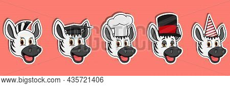 Ead Zebra Animal Sticker Set. Graduation, Chef, Magician And Party Hat. Perfect For Stickers, Logo,