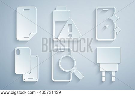 Set Phone Repair Service, Glass Screen Protector, Smartphone, Charger, Battery Charge And Icon. Vect