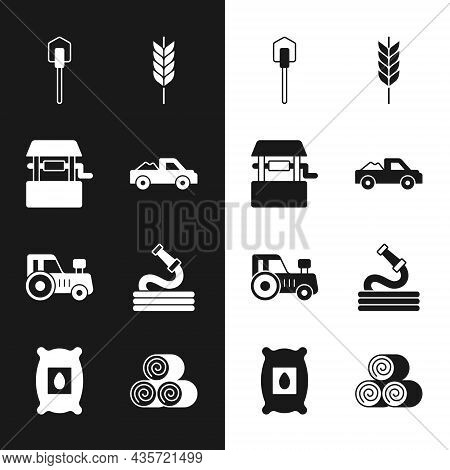 Set Pickup Truck, Well, Shovel, Wheat, Tractor, Garden Hose, Roll Of Hay And Pack Full Seeds Plant I
