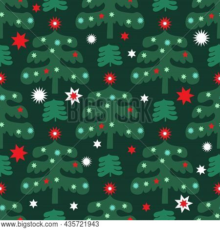 Merry Christmas  Winter Forest  Holiday Art Background. Hand Drawn Christmas  Seamless Pattern With