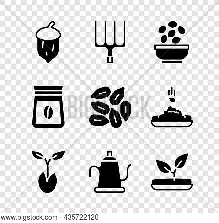 Set Acorn, Oak Nut, Seed, Garden Pitchfork, Seeds In Bowl, Sprout, Watering Can, Bag Of Coffee Beans