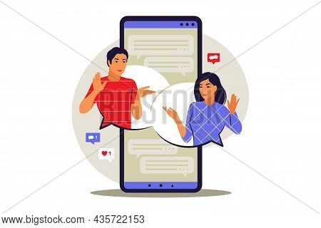 Messages Concept. Chat Messages Notification On Phone. Vector Illustration. Flat.