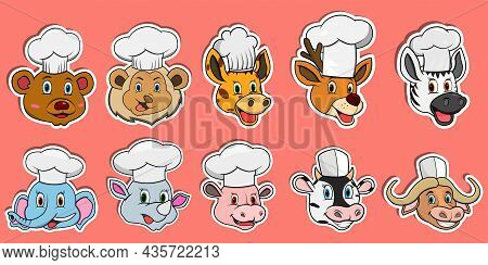 Head Animal Sticker Set. For Logo, Sticker And Chef Theme. Vector And Illustration.