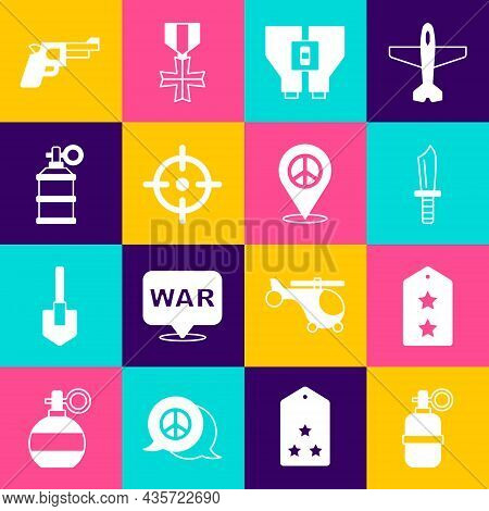 Set Hand Grenade, Military Rank, Knife, Binoculars, Target Sport, Smoke, Pistol Gun And Location Pea