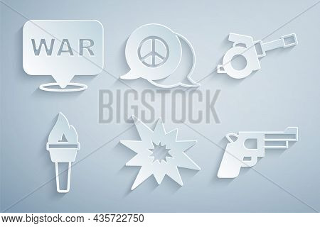 Set Bomb Explosion, Howitzer, Torch Flame, Pistol Gun, Peace And The Word War Icon. Vector