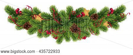 Christmas And New Year Realistic Vector Template With Christmas Tree Branches, Stars, Cones And Holl
