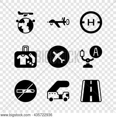 Set Globe With Flying Plane, Uav Drone, Helicopter Landing Pad, No Smoking, Passenger Ladder, Airpor