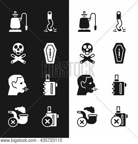 Set Death From Smoking, Bones And Skull, Hookah, Cigarette Butt, Man Coughing, Electronic Cigarette,