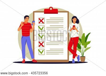 To Do List Concept. People Checking Completed Tasks And Prioritizing Tasks In To Do List. Vector Ill