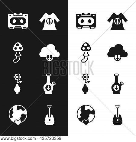 Set Peace Cloud, Psilocybin Mushroom, Retro Audio Cassette Tape, Dress Print Stamp, Flower Vase, Bon