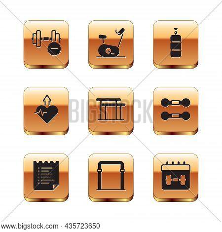 Set Dumbbell, Sport Training Program, Horizontal Bar, Uneven Bars, Heartbeat Increase, Punching Bag,