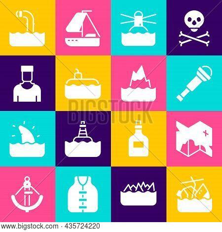 Set Sinking Cruise Ship, Pirate Treasure Map, Spyglass Telescope Lens, Lighthouse, Submarine, Sailor