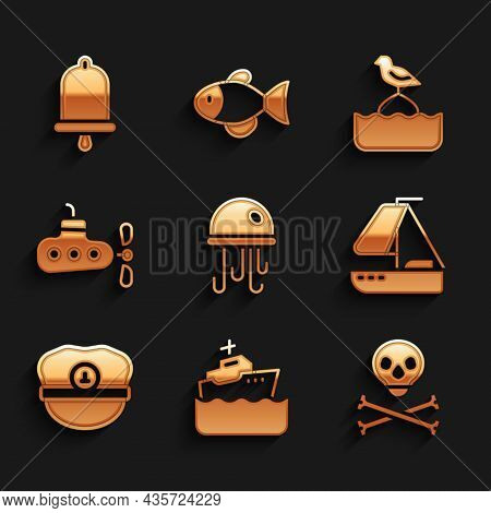 Set Jellyfish, Cruise Ship, Skull On Crossbones, Yacht Sailboat, Captain Hat, Submarine, Seagull Sit
