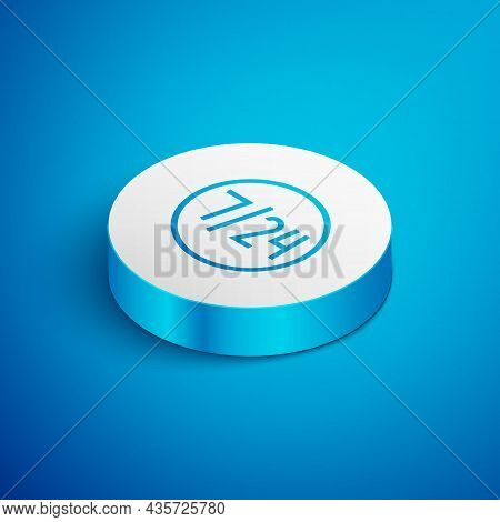 Isometric Line Clock 24 Hours Icon Isolated On Blue Background. All Day Cyclic Icon. 24 Hours Servic