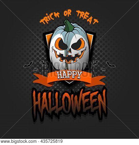 Happy Halloween. Logo Rugby Ball As Pumpkin
