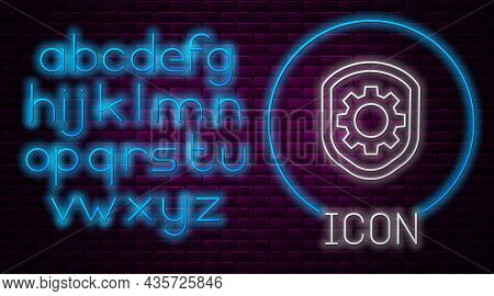 Glowing Neon Line Shield With Settings Gear Icon Isolated On Brick Wall Background. Adjusting, Servi