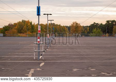 View Of The Roof Of The Multi-storey Car Park. Parking Without Cars In Autumn.