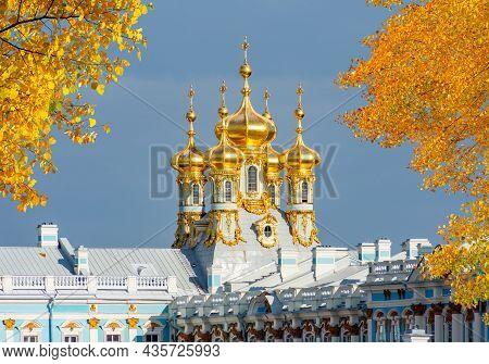 Resurrection Church Dome Of Catherine Palace In Autumn, Tsarskoe Selo (pushkin), Saint Petersburg, R