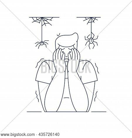 Arachnophobia, Irrational Fear Of Spider Vector Illustration. Scared Man Character With Hands On The