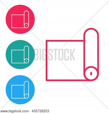 Red Line Fitness Mat Roll Icon Isolated On White Background. Yoga Mat Rolled. Sport Equipment. Set I