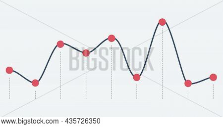 Abstract Financial Ascending Linear Graph. Stock Vector Illustration Isolated On White Background.