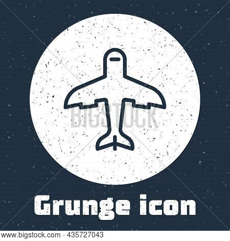 Grunge Line Plane Icon Isolated On Grey Background. Flying Airplane Icon. Airliner Sign. Monochrome