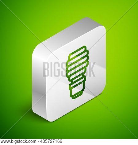 Isometric Line Led Light Bulb Icon Isolated On Green Background. Economical Led Illuminated Lightbul