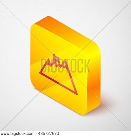 Isometric Line Mountains With Flag On Top Icon Isolated On Grey Background. Symbol Of Victory Or Suc