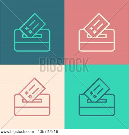 Pop Art Line Vote Box Or Ballot Box With Envelope Icon Isolated On Color Background. Vector