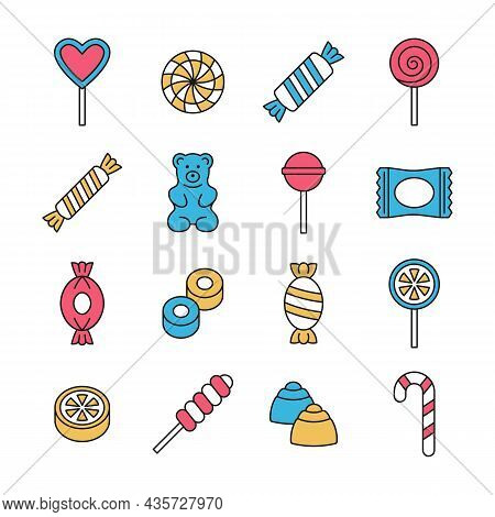 Candy Icon Vector Set. Line Color Collection With Lollipop, Sweets, Caramel, Candy Cane, Chocolate C