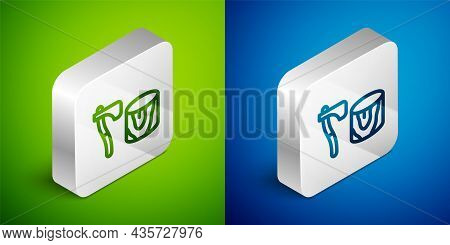 Isometric Line Wooden Axe In Stump Icon Isolated On Green And Blue Background. Lumberjack Axe. Axe S