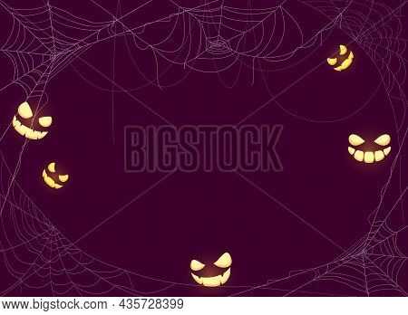 Halloween Purple Background With Scary Smiles And Spider Webs. Card With Holiday Halloween Border Fr