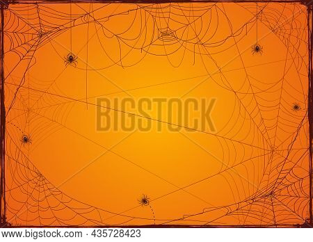 Halloween Orange Background With Spider Webs. Holiday Halloween Card With Grunge Border From Cobwebs