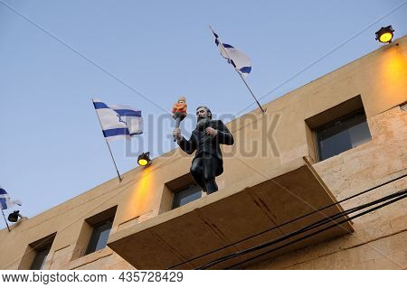Beer Sheva, Israel - July 24, 2019: Sculpture Of Herzl With A Torch On The Facade Of The Building Of
