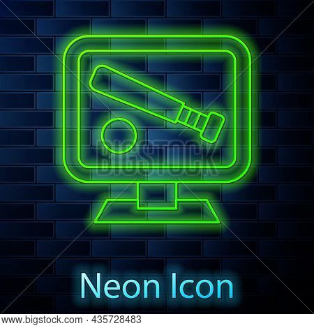Glowing Neon Line Monitor With Baseball Ball And Bat On The Screen Icon Isolated On Brick Wall Backg