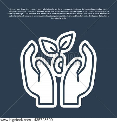 Blue Line Plant In Hand Of Environmental Protection Icon Isolated On Blue Background. Seed And Seedl