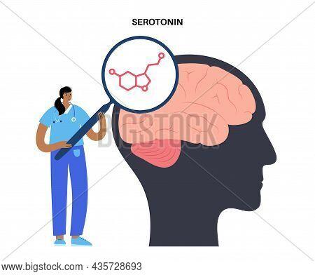 Serotonin Formula Icon. Monoamine Neurotransmitter. Modulating Mood, Cognition, Reward, Learning, Me