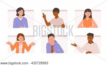 Conference Call And Remote Meeting Concept. Company Co-workers Sprint. Flat Vector Illustration With