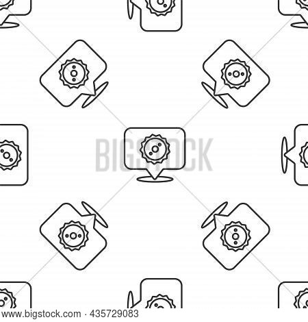 Grey Line Circular Saw Blade Icon Isolated Seamless Pattern On White Background. Saw Wheel. Vector