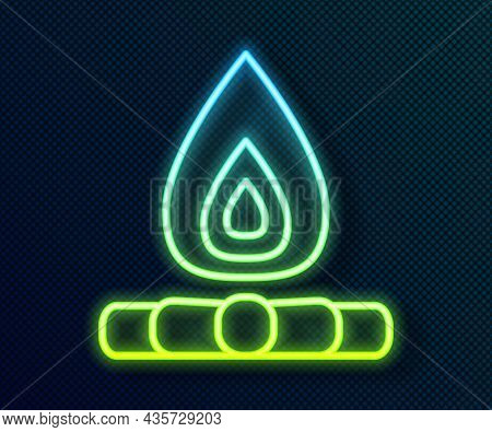Glowing Neon Line Campfire Icon Isolated On Black Background. Burning Bonfire With Wood. Vector