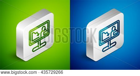 Isometric Line Global Economic Crisis News Icon Isolated On Green And Blue Background. World Finance