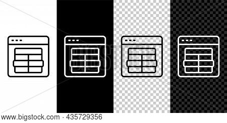 Set Line Mysql Code Icon Isolated On Black And White, Transparent Background. Html Code Symbol For Y