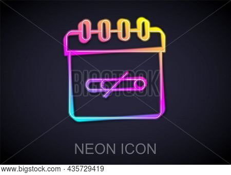 Glowing Neon Line No Smoking Days Icon Isolated On Black Background. Concept Of No Smoking And World