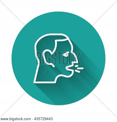 White Line Man Coughing Icon Isolated With Long Shadow Background. Viral Infection, Influenza, Flu,