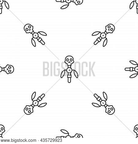 Grey Line Magic Staff Icon Isolated Seamless Pattern On White Background. Magic Wand, Scepter, Stick
