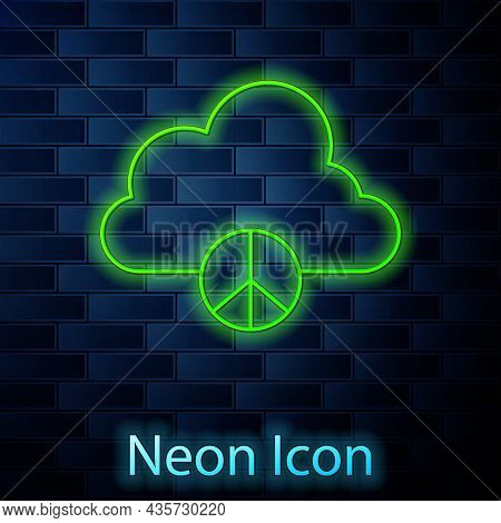 Glowing Neon Line Peace Cloud Icon Isolated On Brick Wall Background. Hippie Symbol Of Peace. Vector